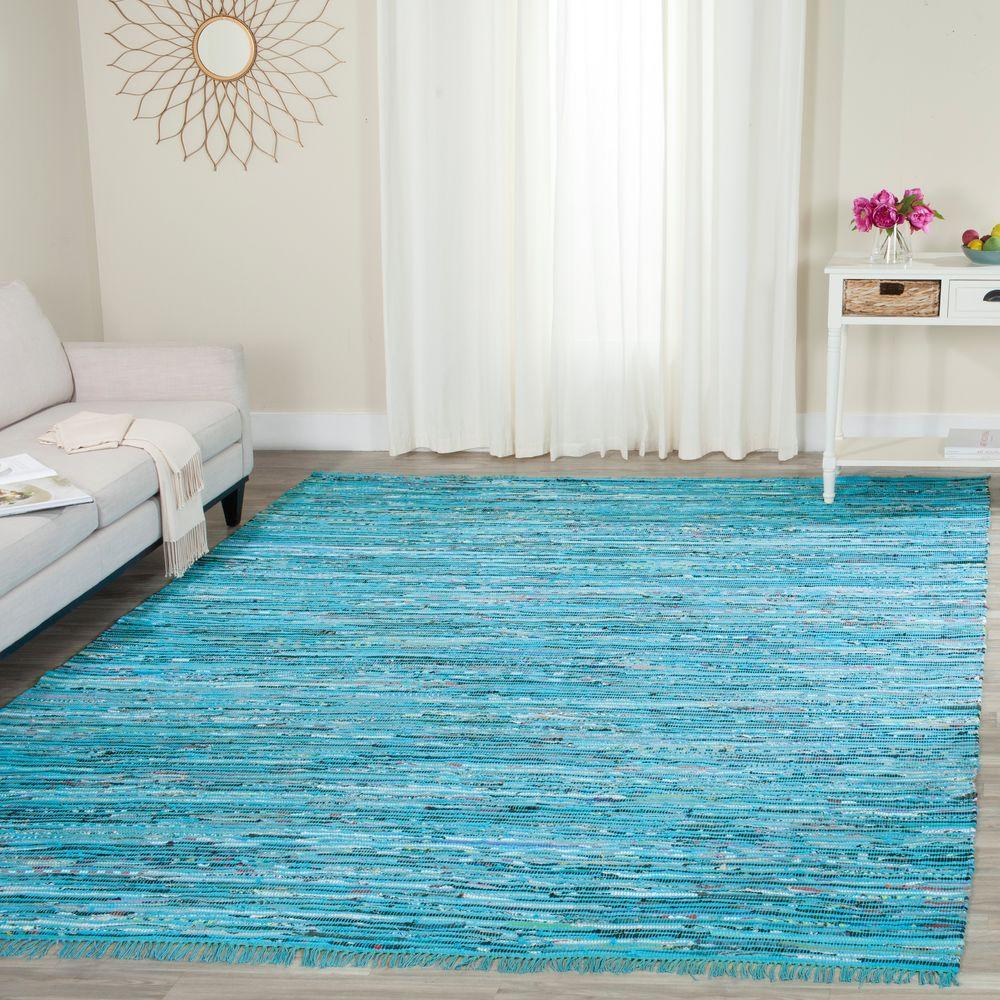 San Juan Turquoise Accent Rug: Safavieh Rag Rug Turquoise/Multi 8 Ft. X 10 Ft. Area Rug