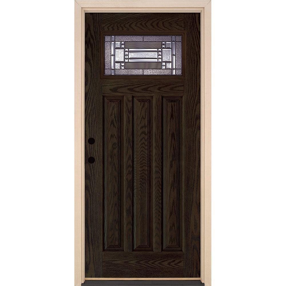 37.5 in. x 81.625 in. Preston Patina Craftsman Lite Stained Walnut Oak Right-Hand Inswing Fiberglass Prehung Front Door