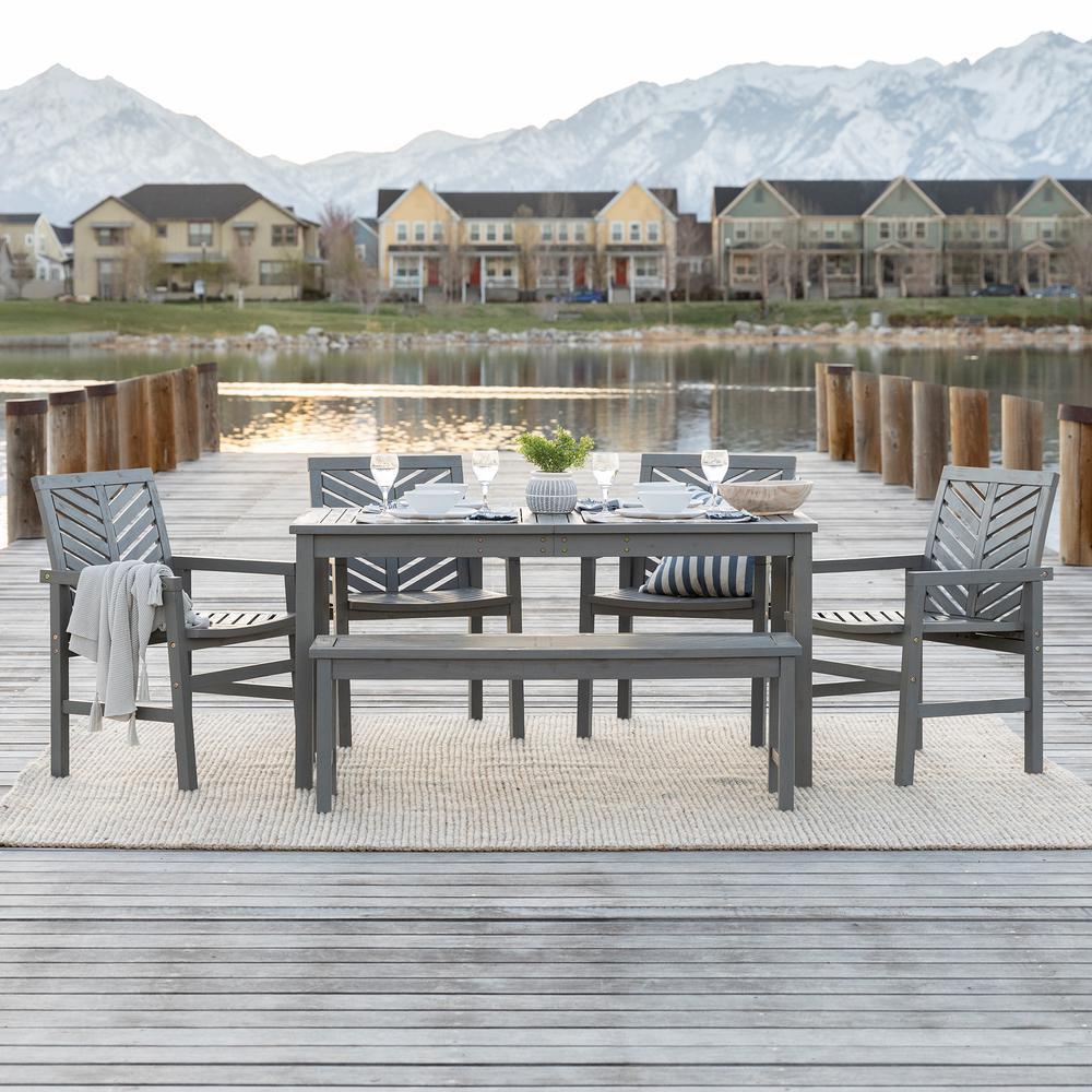 Chevron Grey Wash 6-Piece Wood Outdoor Patio Dining Set