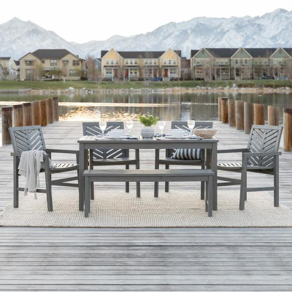 Walker Edison Furniture Company Chevron Grey Wash 6 Piece Wood Outdoor Patio Dining Set Hd8076 The Home Depot