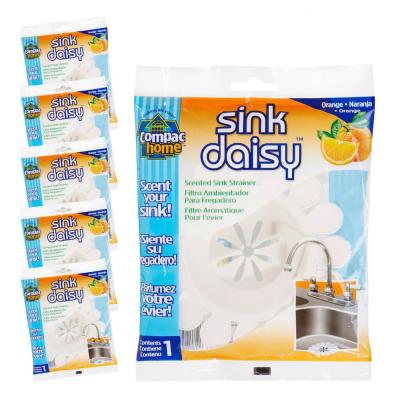 6 Count Sink Daisy Orange Scented Kitchen Sink Strainer (3-2 packs for total of 6)