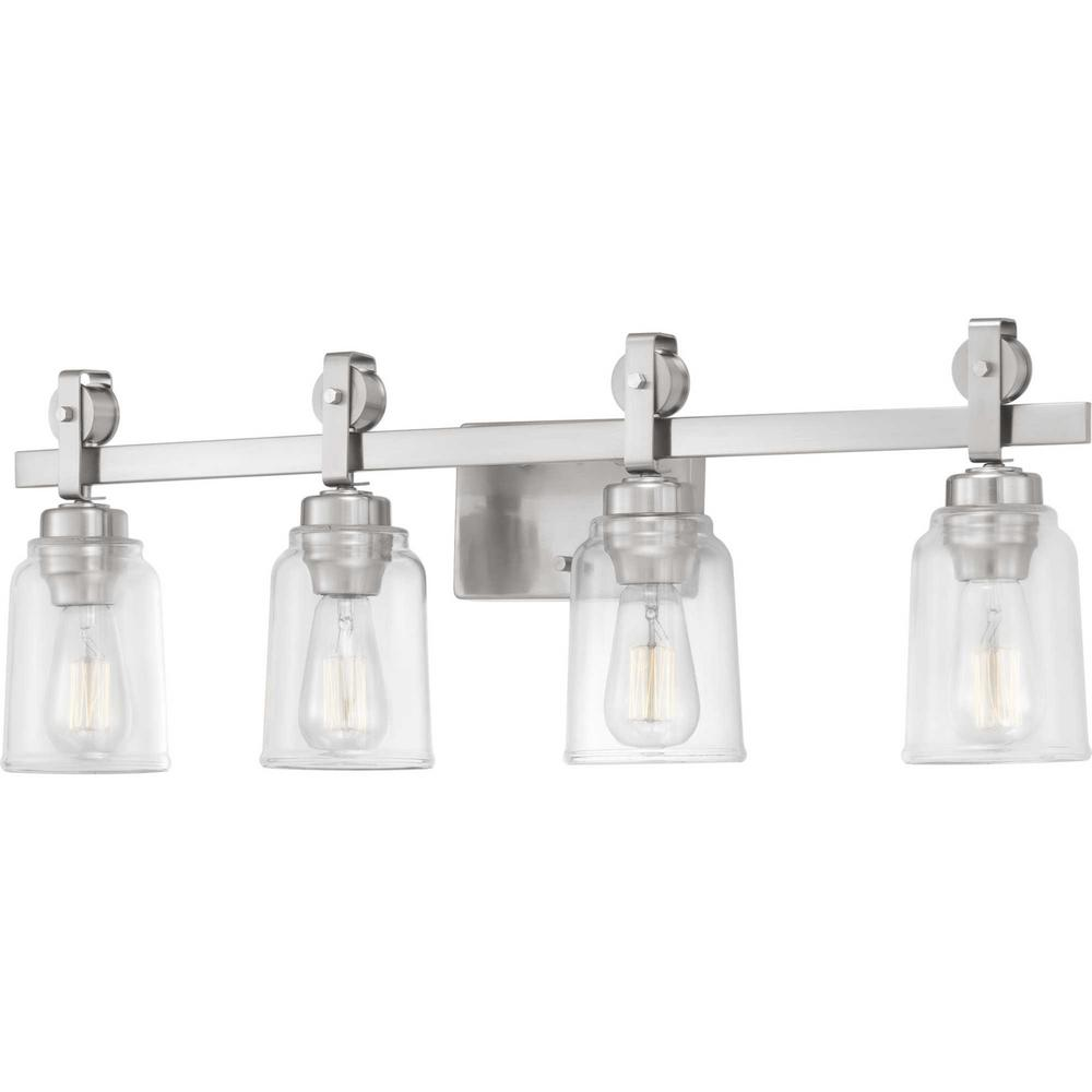 Home Decorators Collection Knollwood 7 in. 4-Light Brushed Nickel Vanity Light with Clear Glass Shades