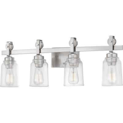 Knollwood 4-Light Brushed Nickel Vanity Light with Clear Glass Shades