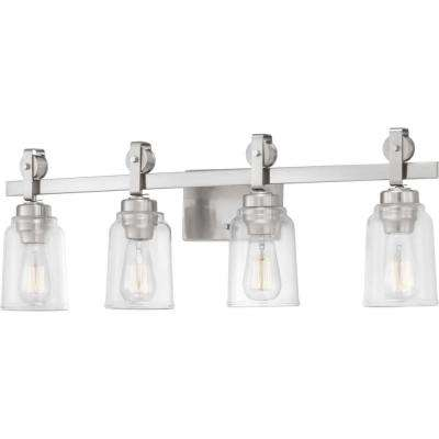 Knollwood 7 in. 4-Light Brushed Nickel Vanity Light with Clear Glass Shades