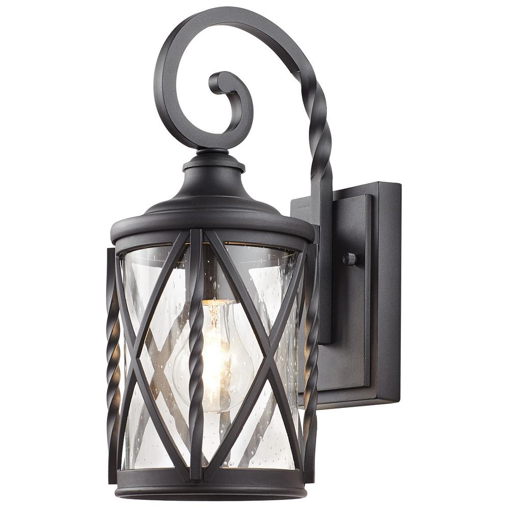 Home Decorators Collection 1 Light Black Outdoor Wall Lantern With Seeded Glass 7953hdcbldi
