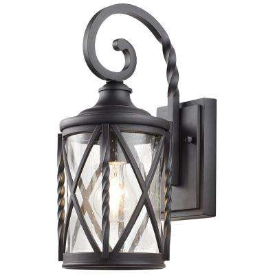 1 Light Black Outdoor Wall Lantern With Seeded Glass Home Decorators Collection