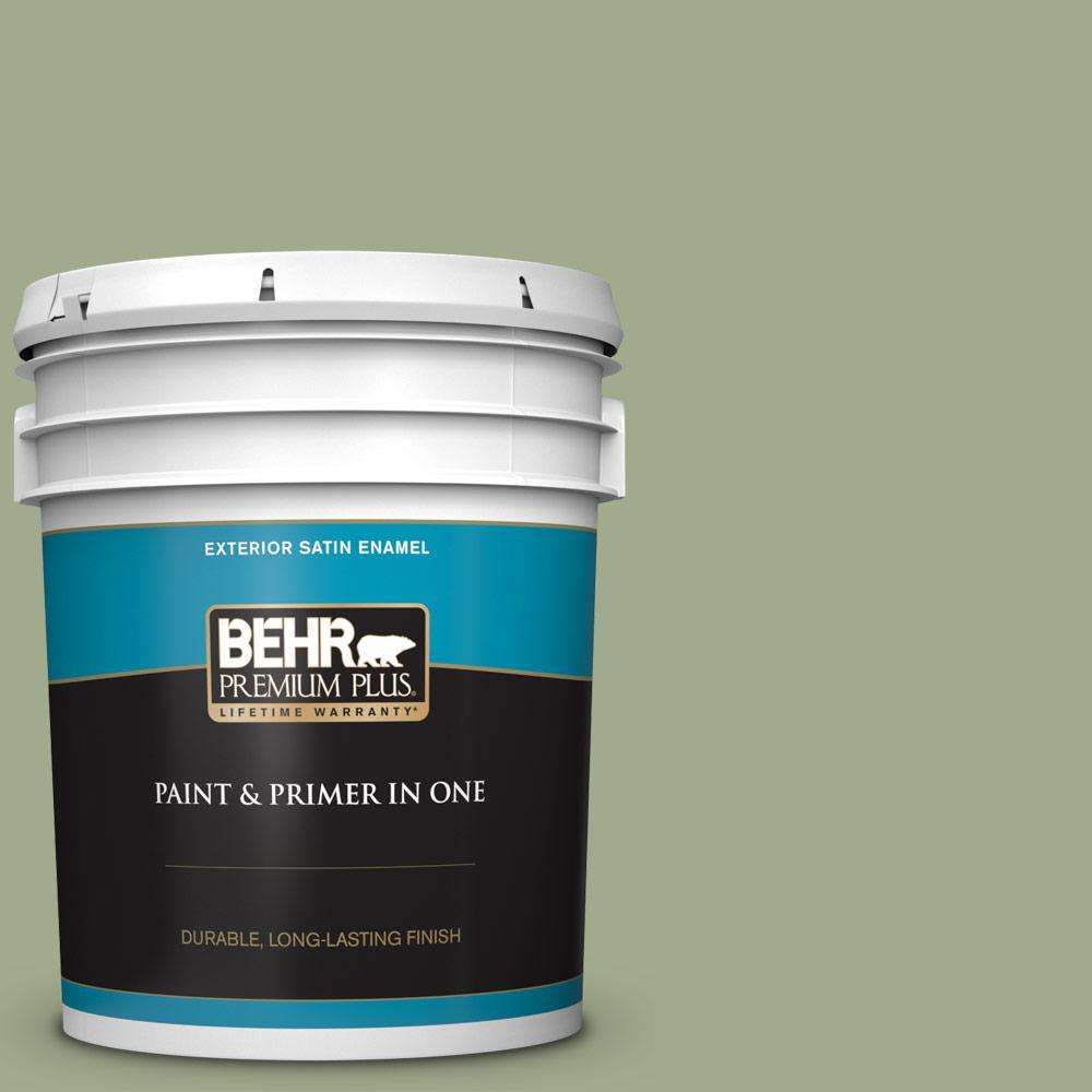 BEHR Premium Plus 5 gal. #PMD-36 Mountain Sage Satin Enamel Exterior Paint and Primer in One