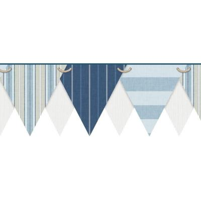 Nautical Living Striped Pennant Wallpaper Border