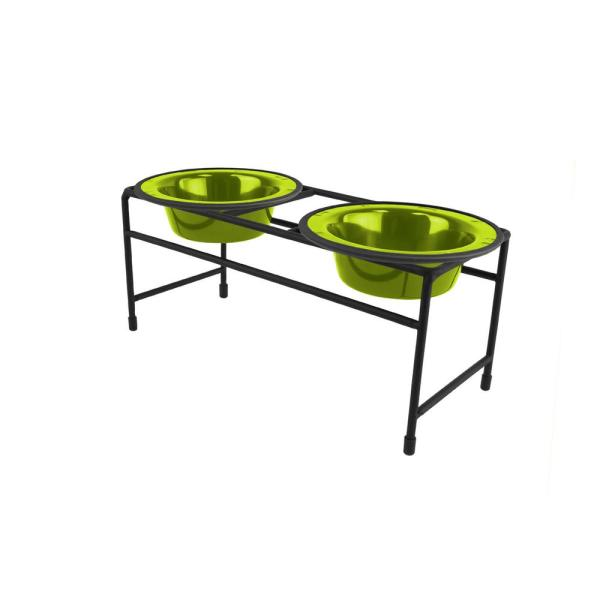 Platinum Pets Modern Double Diner Feeder with Stainless Steel Cat/Dog Bowls, Corona Lime