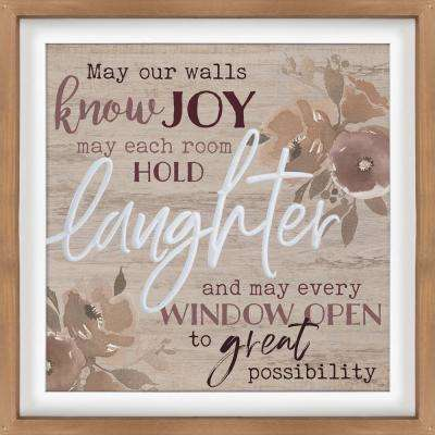 May Our Walls Know Joy Tan Pine Wood Frame Wall Decor