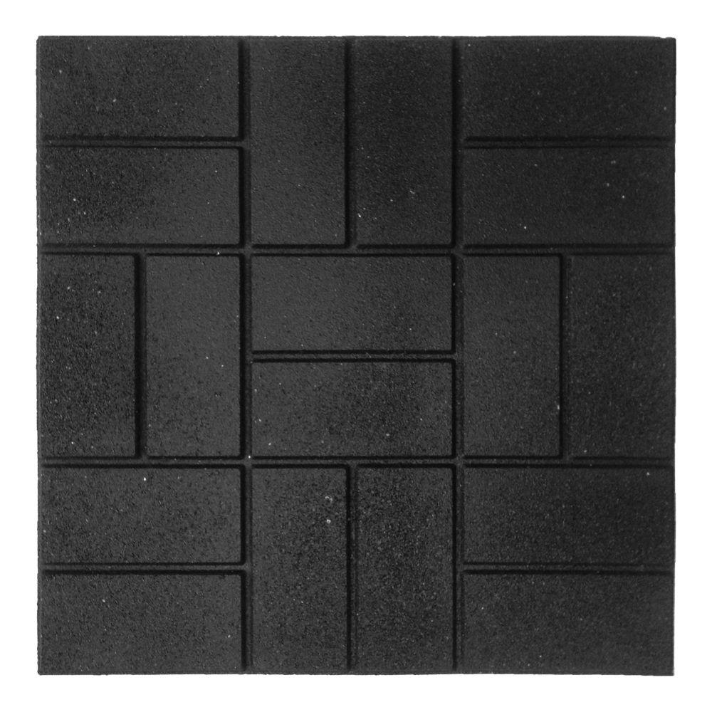 Envirotile 24 in  x 24 in  XL Brick Black Rubber Paver 1EA