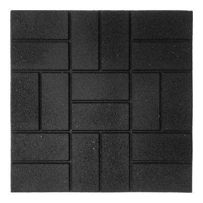 24 in. x 24 in. XL Brick Black Rubber Paver 1EA