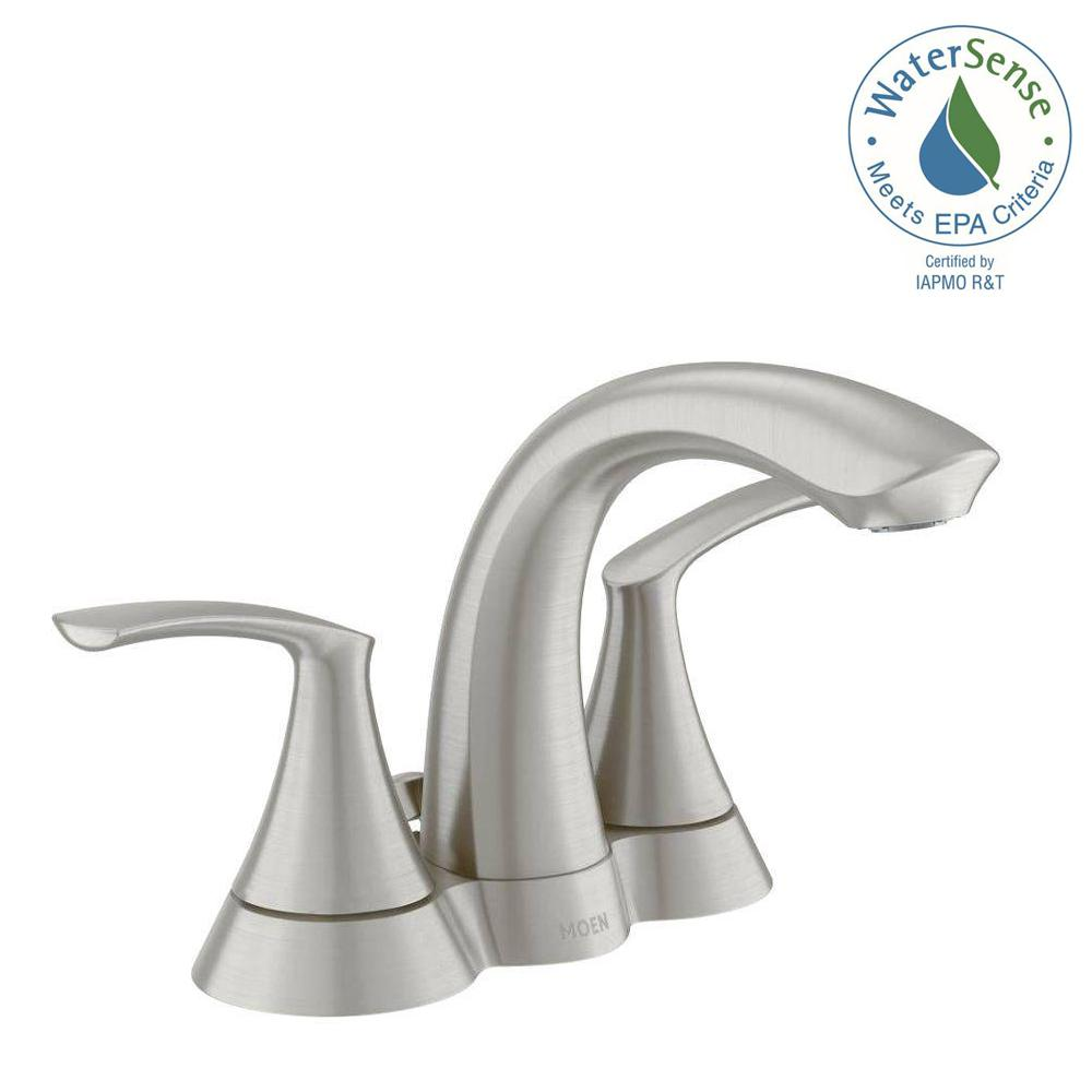 Centerset 2 Handle Bathroom Faucet In Spot Resist Brushed Nickel