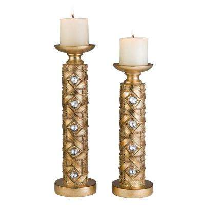 14 in. and 16 in. Gold Mahla Candle Holder Set