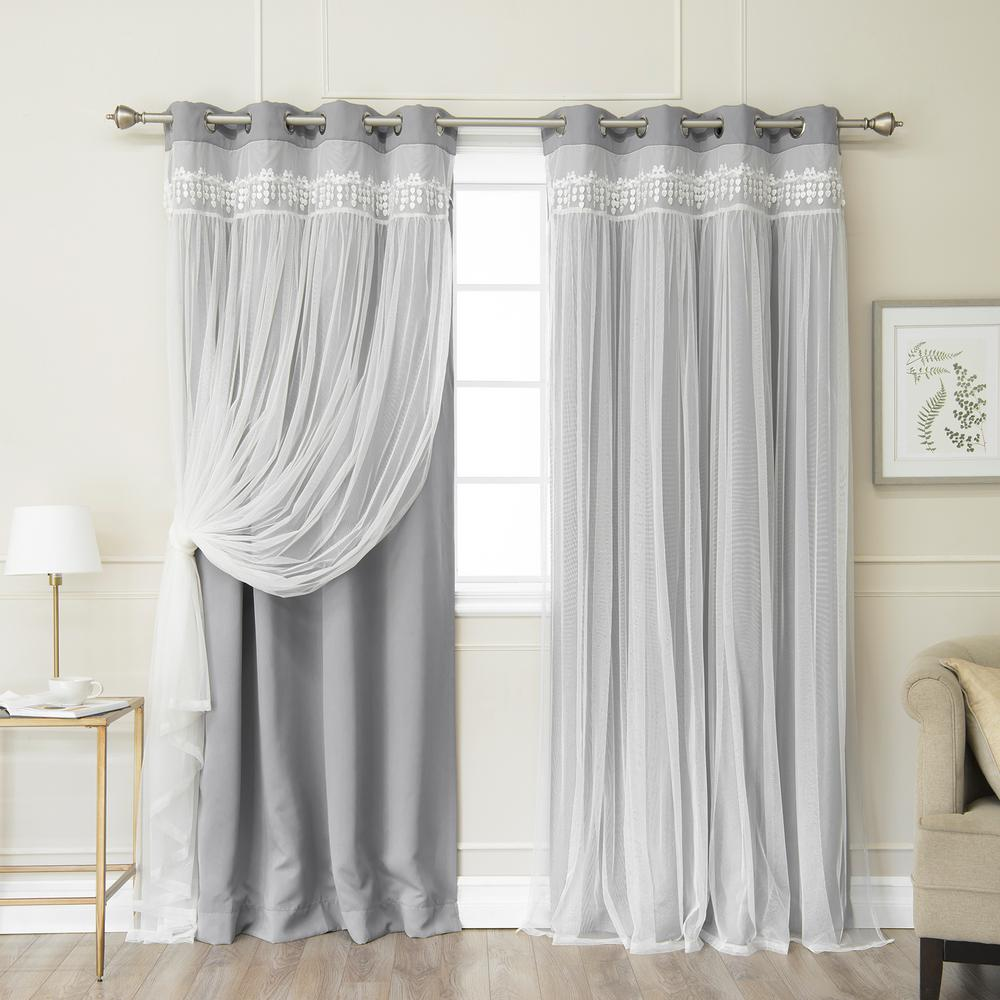 Best Home Fashion Grey 96 in. L Elis Lace Overlay Blackout Curtain Panel (2-Pack)