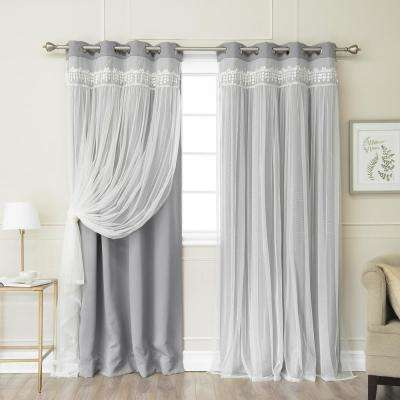 Grey 96 in. L Elis Lace Overlay Blackout Curtain Panel (2-Pack)
