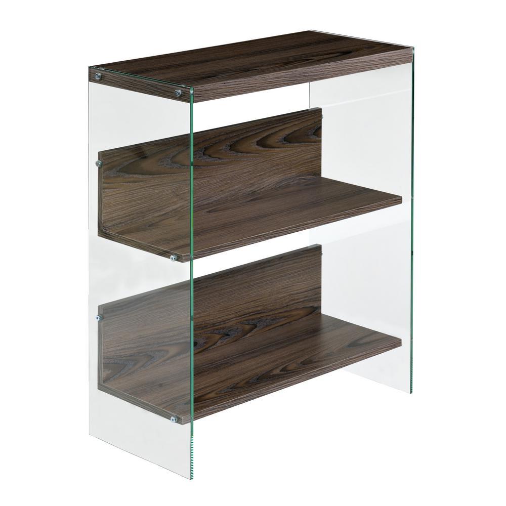 Walnut Escher Skye Collection 3-Tier Bookshelf, Wood and Clear Glass