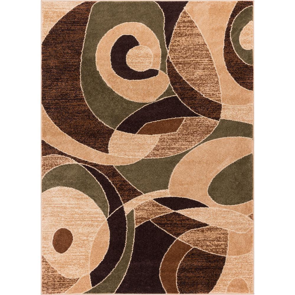 Mid Century Area Rugs: Well Woven Sydney Zen Abstract Mid-Century Green 3 Ft. X 5