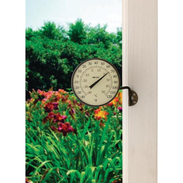 Big Bold Dial Thermometer Green Attractive Outdoor Weather Resistant Finish New