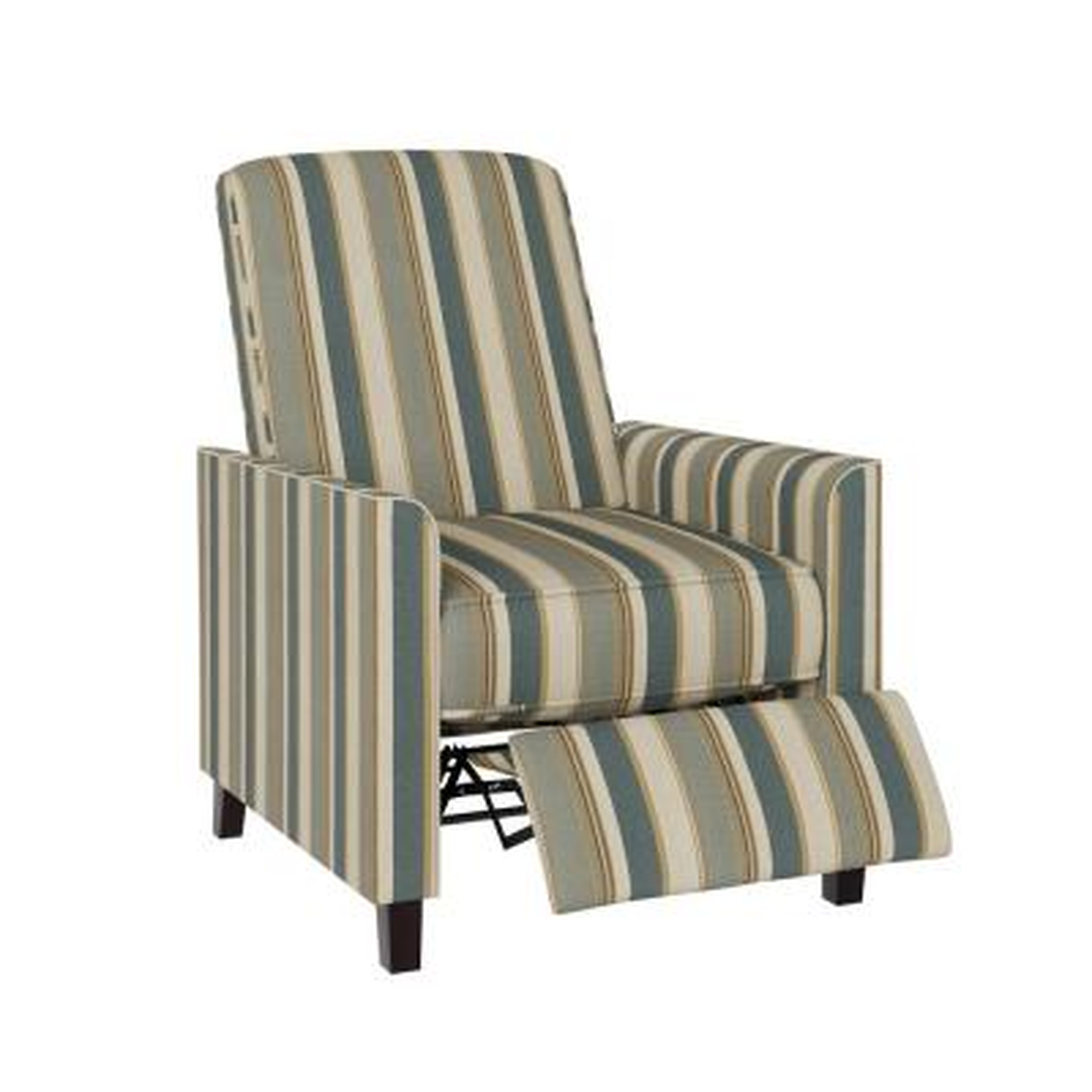 Classic Coastal Blue Stripe Pushback Recliner Chair