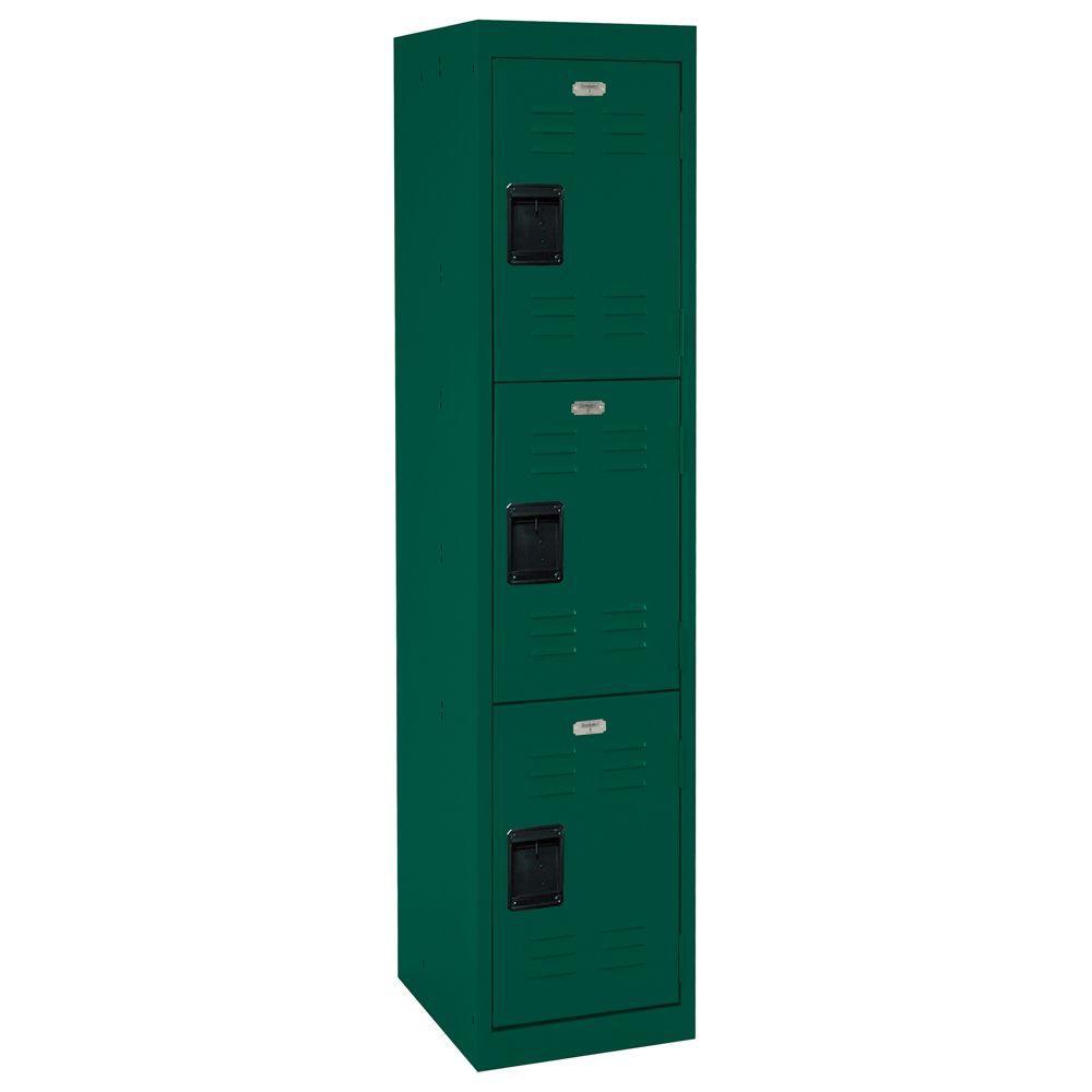 66 in. H 3-Tier Welded Steel Storage Locker in Forest Green