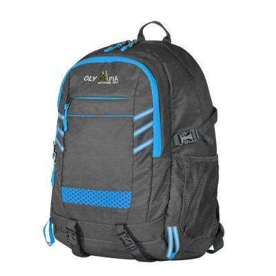 Huntsman 25L 19 in. Grey and Blue Outdoor Backpack with retractable USB cord