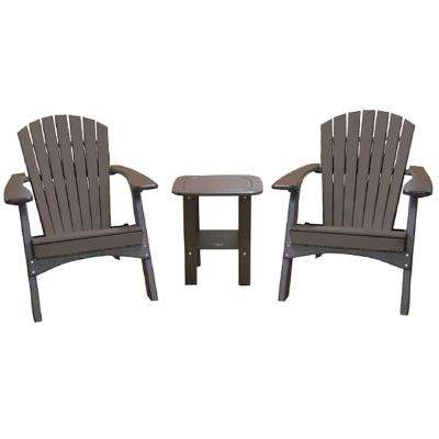 Mocha 3-Piece Poly-Lumber Folding Patio Conversation Set