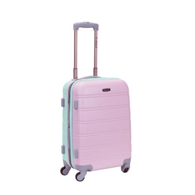 Melbourne 20 in. Expandable Carry on Hardside Spinner Luggage, Mint/Pink