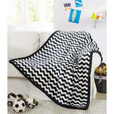 Fifi Black White Sherpa Throw