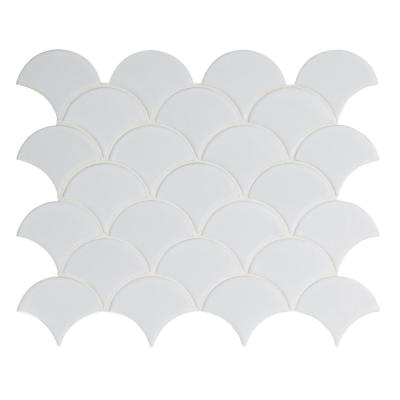 Retro Gray Scallop 13.19 in. x 11.22 in. x 6mm Glossy Porcelain Mesh-Mounted Mosaic Tile (13.65 sq. ft. / case)
