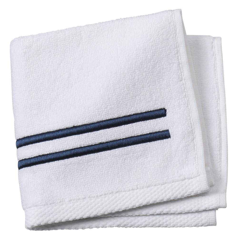 Home Decorators Collection Sardis 1 Piece Face Towel In Navy 9910400320 The Home Depot
