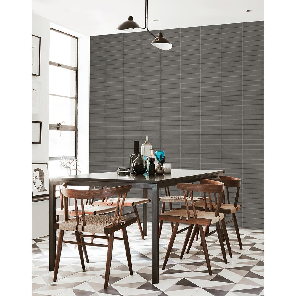 Midcentury Modern Dark Grey Brick Wallpaper