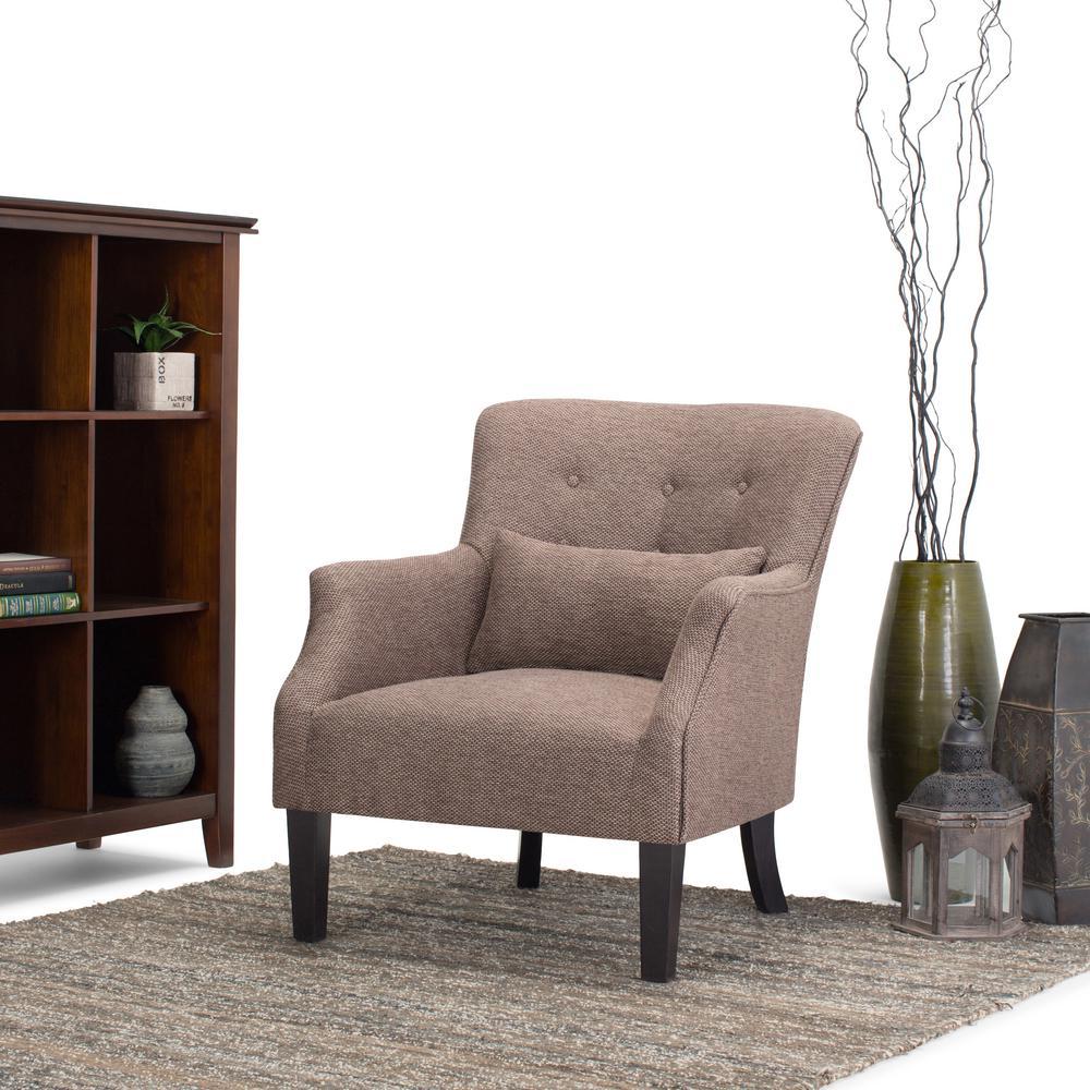 Simpli Home Erril Java Fabric Club Arm Chair AXCCHR 015   The Home Depot