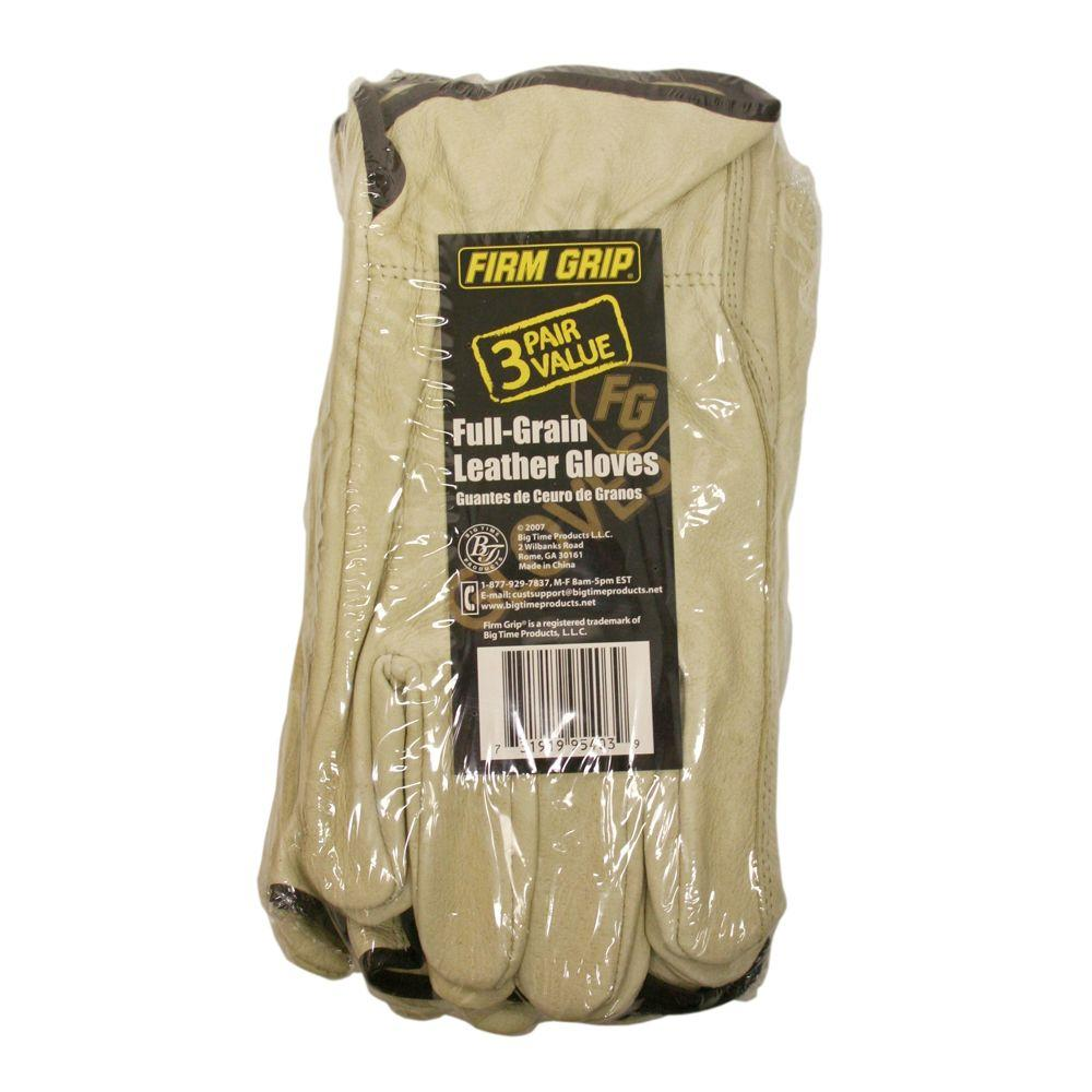 Firm Grip Leather Large Work Gloves (3-Pack)-DISCONTINUED