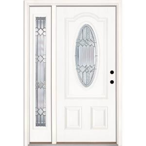 Feather River Doors 50.5 in.x81.625in.Mission Pointe Zinc 3/4 Oval Lt Unfinished Smooth Left-Hand Fiberglass Prehung Front Door w/ Sidelite-182190-1A4 - The ...  sc 1 st  The Home Depot & Feather River Doors 50.5 in.x81.625in.Mission Pointe Zinc 3/4 Oval ... pezcame.com