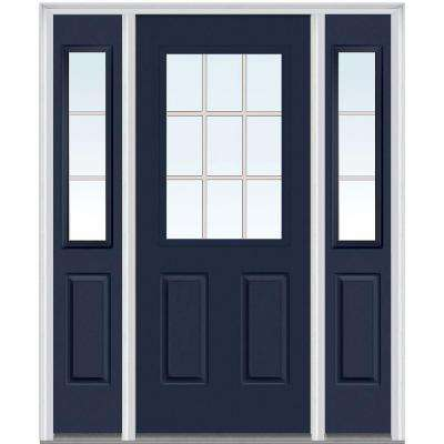60 in. x 80 in. Internal Grilles Right-Hand Inswing 1/2-Lite Clear Painted Steel Prehung Front Door with Sidelites