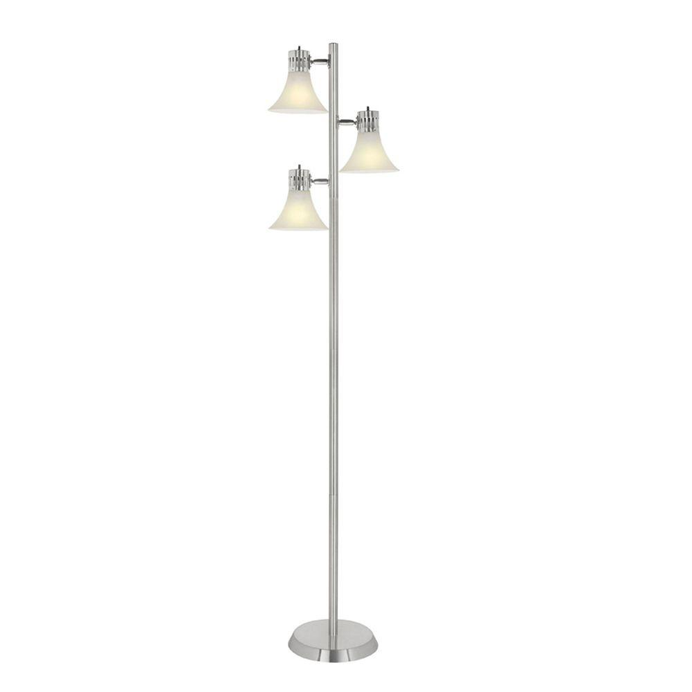 Hampton Bay 64 1 2 In Brushed Nickel Floor Lamp With 3