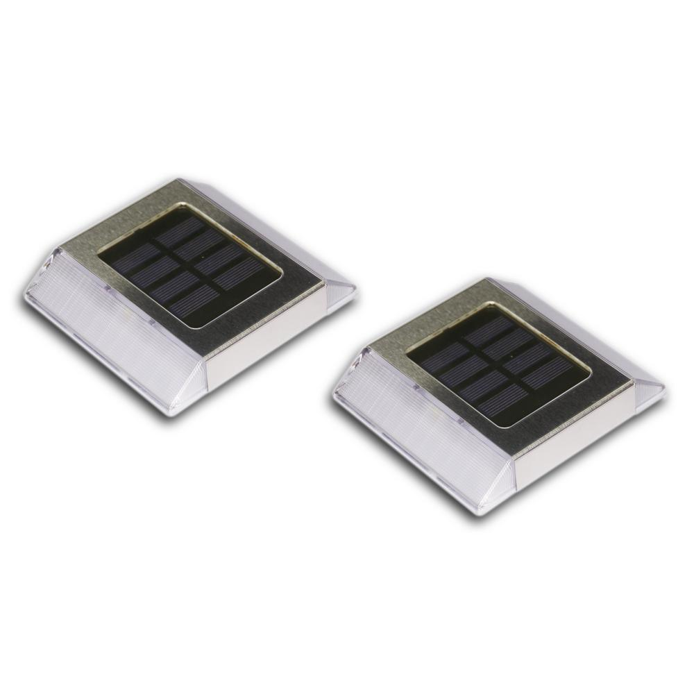 Classy Caps Stainless Steel Integrated 2-LED Solar Deck and Path Light (2-Pack)