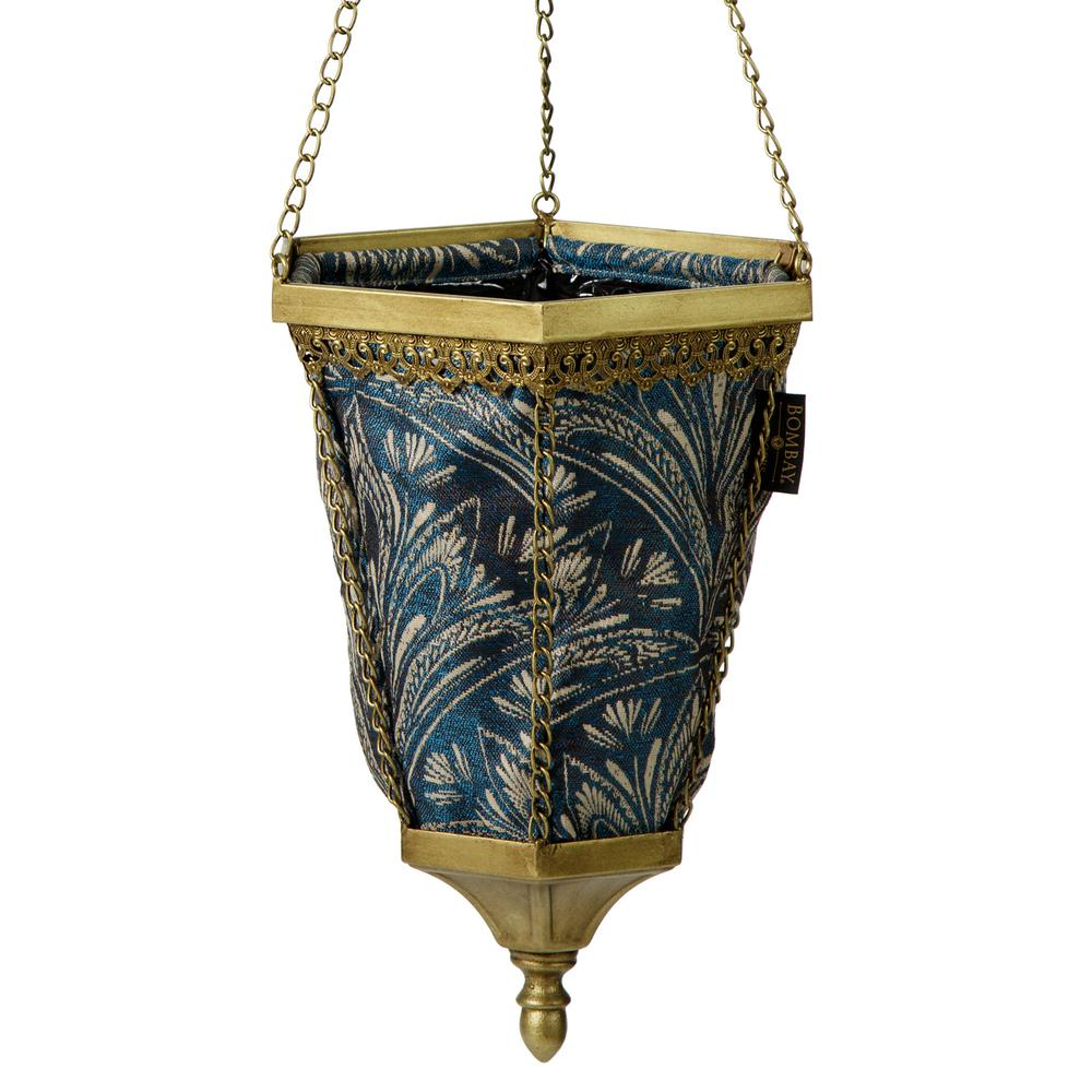 Gold Naya Hanging Metal Planter With Blue Liner