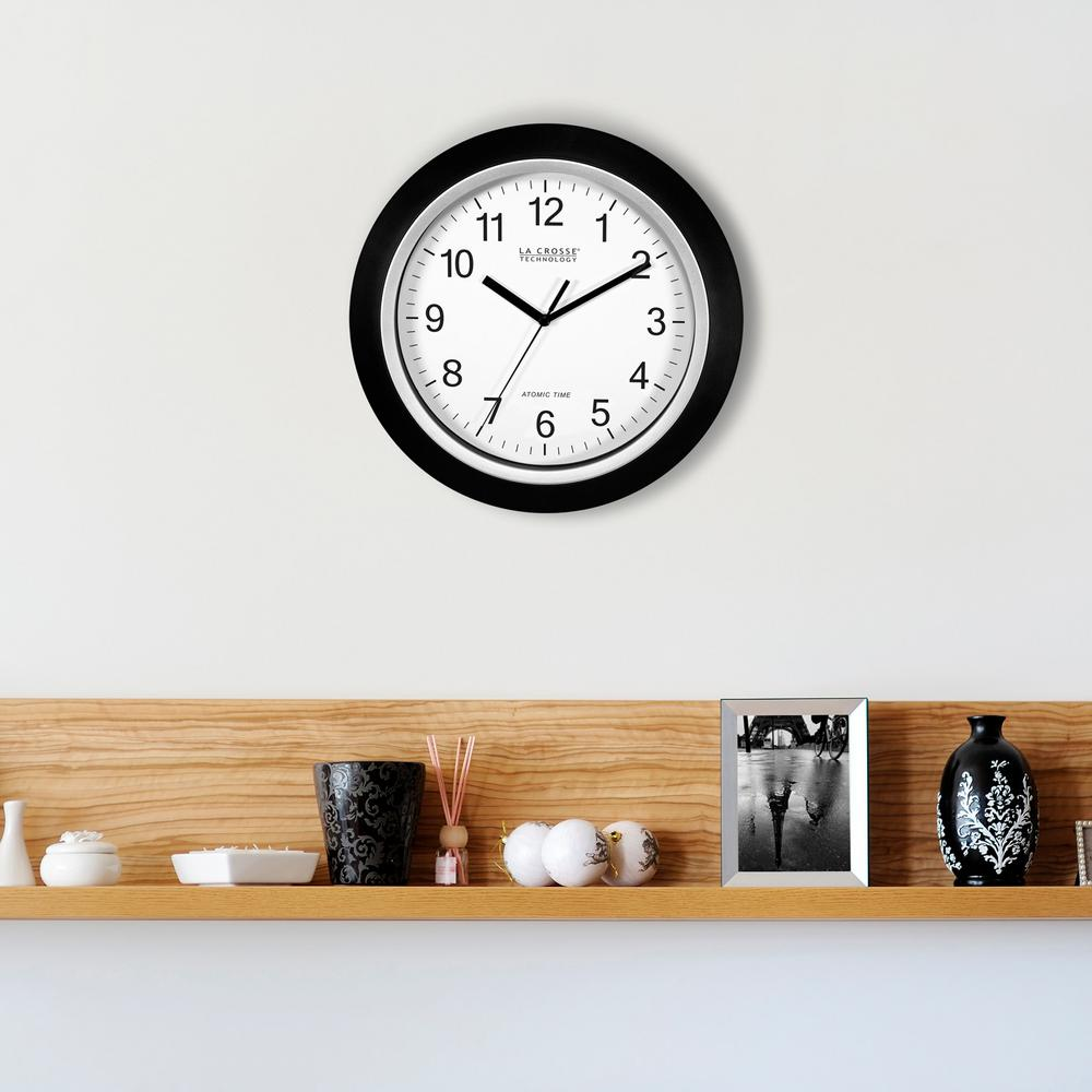 12 in. H Round Atomic Analog Wall Clock in Black