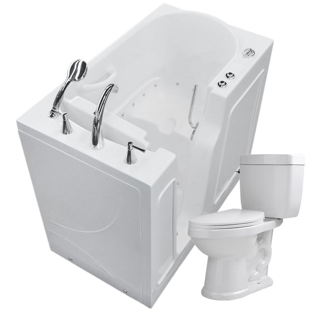 Universal Tubs Nova Heated 45.75 in. Walk-In Air Bath Tub in White ...