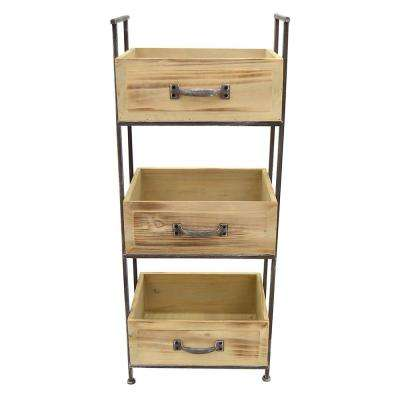 14.5 in. x 10.5 in. Wood Storage Rack 3-Tier in Brown