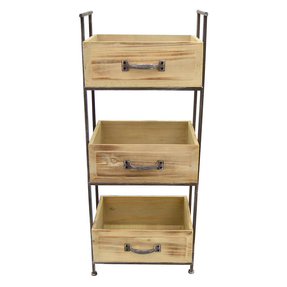 Wood Storage Rack 3 Tier In Brown