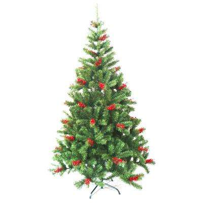6 ft. Unlit Artificial Christmas Tree with Cranberry Clusters