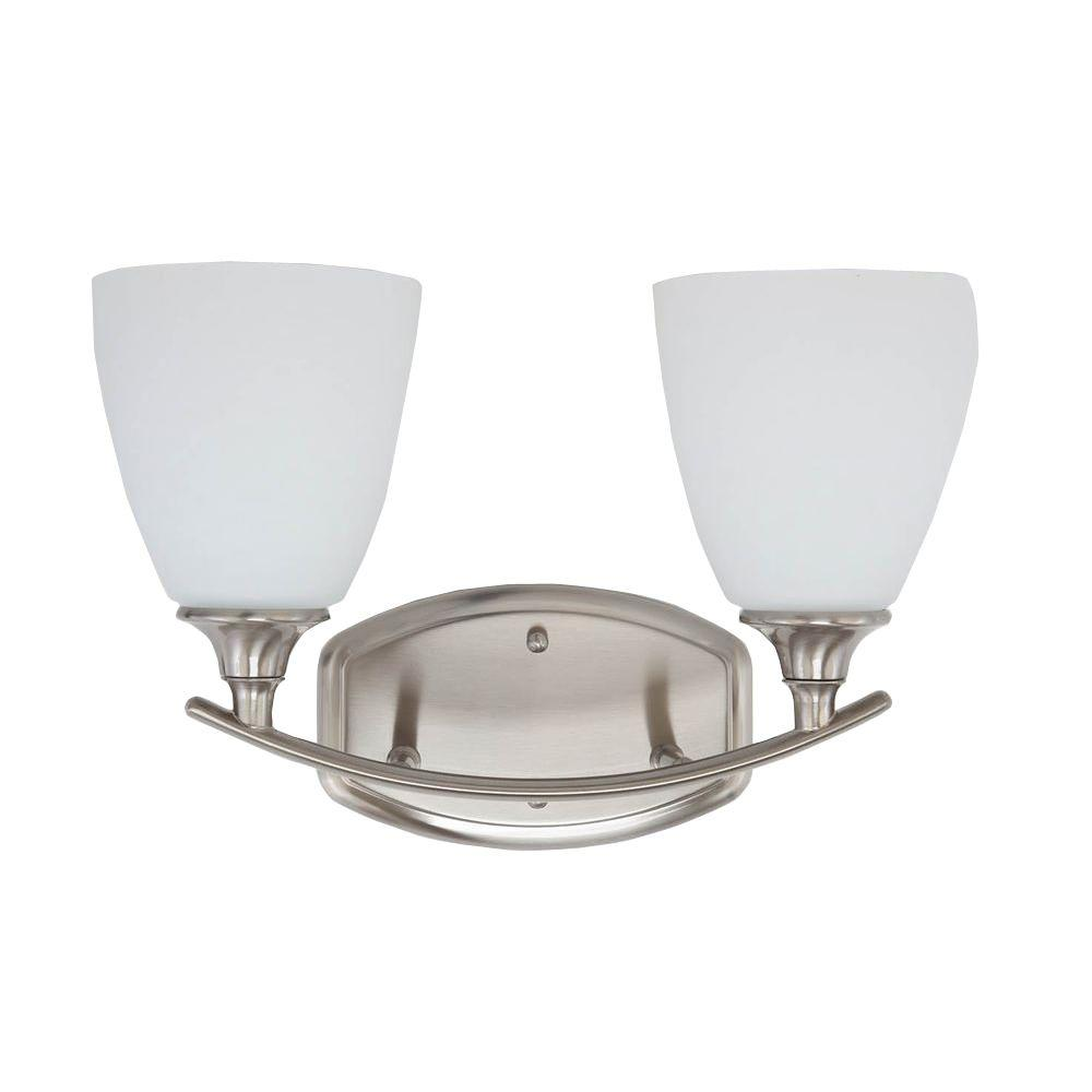 Stansbury Collection 2-Light Brushed Nickel Bathroom Vanity Light with Glass