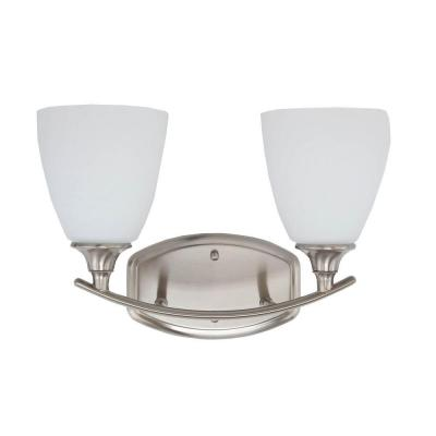Stansbury Collection 2-Light Brushed Nickel Bathroom Vanity Light with Glass Shades