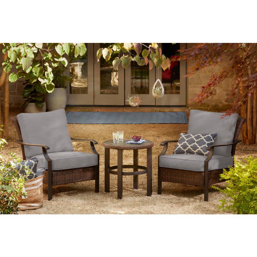 Harper Creek 3-Piece Brown Steel Outdoor Patio Chair Set with CushionGuard Stone Gray Cushions