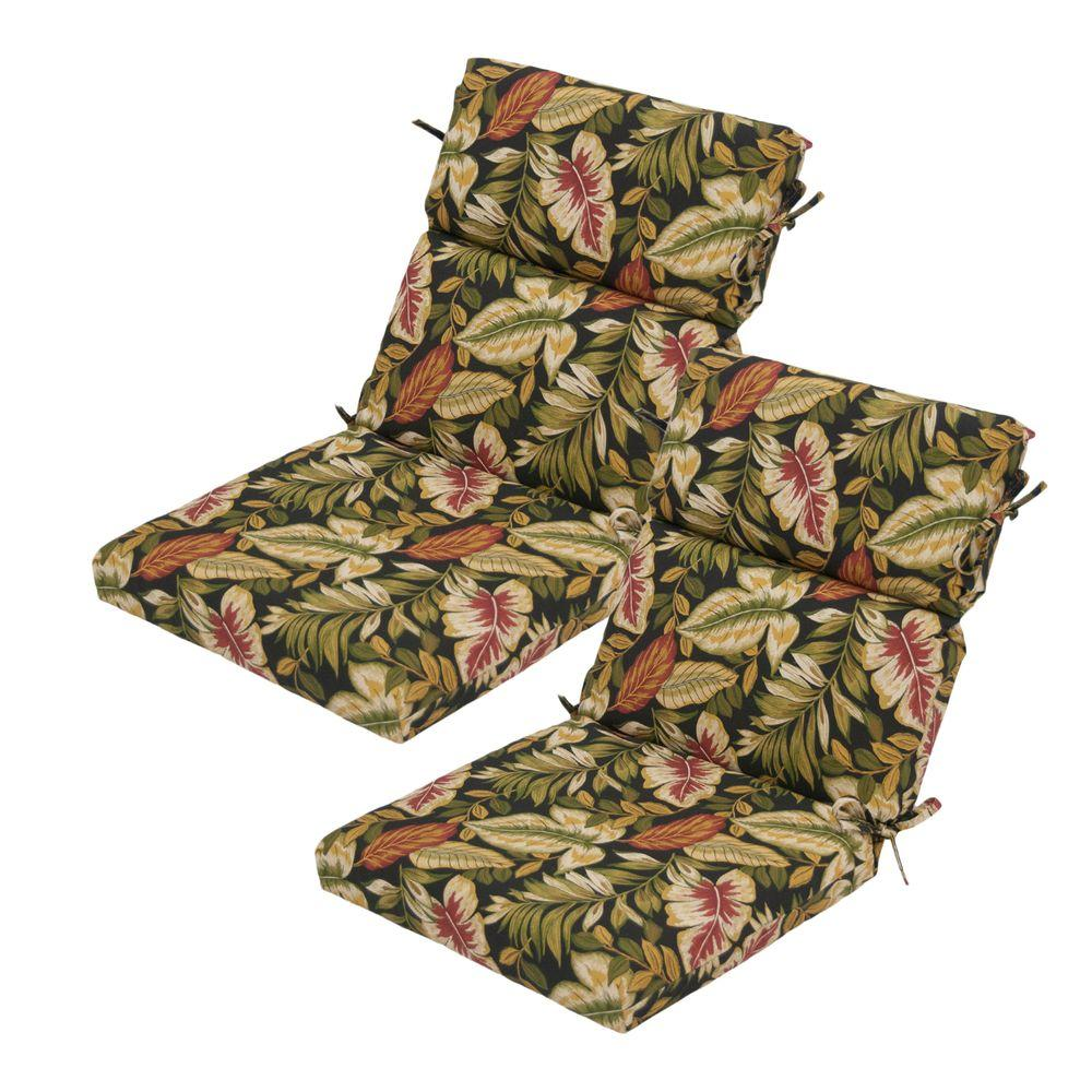 Hampton Bay Twilight Palm High Back Outdoor Chair Cushion (2-Pack)