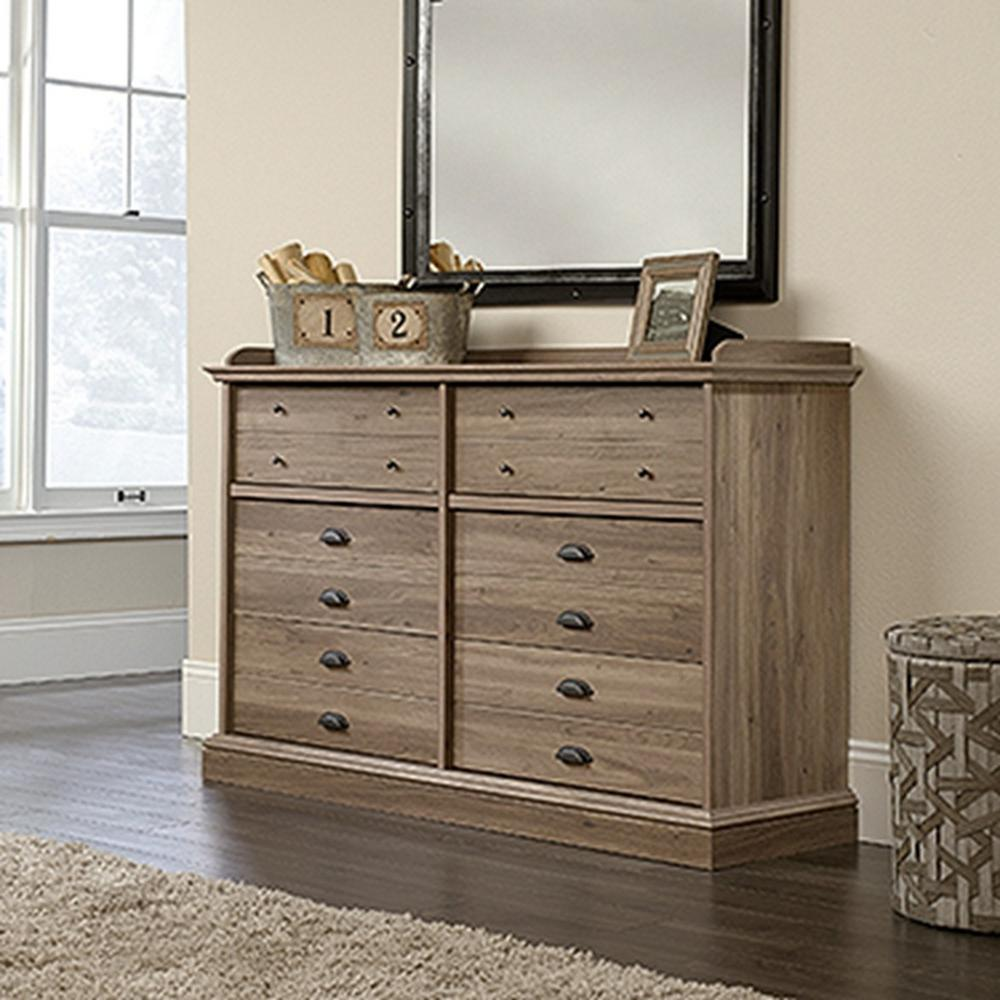 Sauder Barrister Lane 6 Drawer Salt Oak Dresser 418902 The Home Depot
