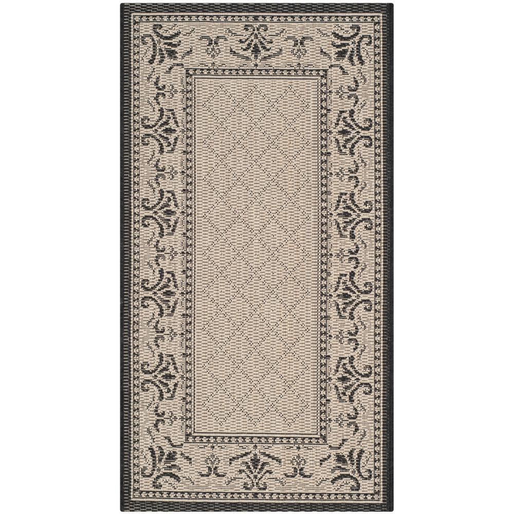 Safavieh Courtyard Sand/Black 2 ft. x 3 ft. 7 in. Indoor/Outdoor Area Rug